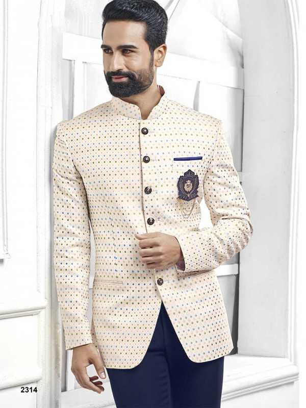 Cream Colour Printed Jodhpuri Suit For Men.