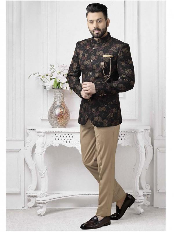 Designer Party Wear Jodhpuri Suit Black Colour.