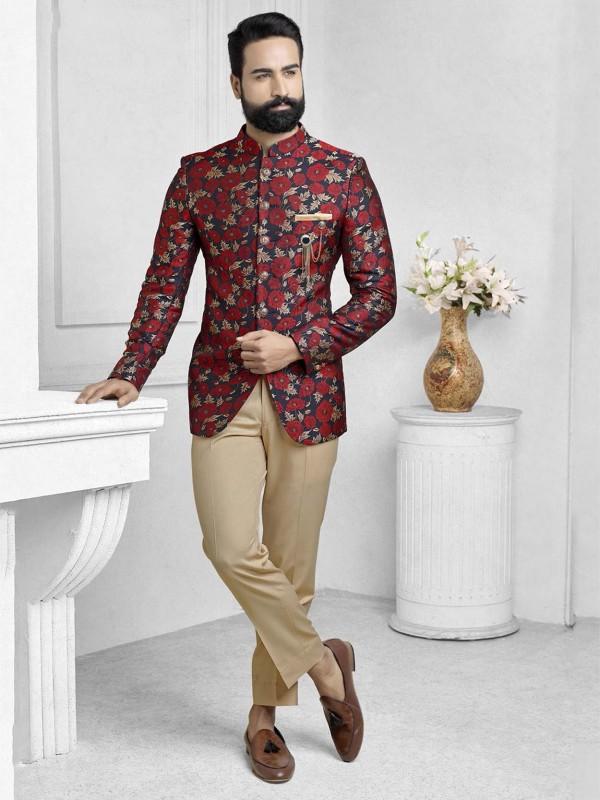 Multi Colour Imported Fabric Printed Jodhpuri Suit.