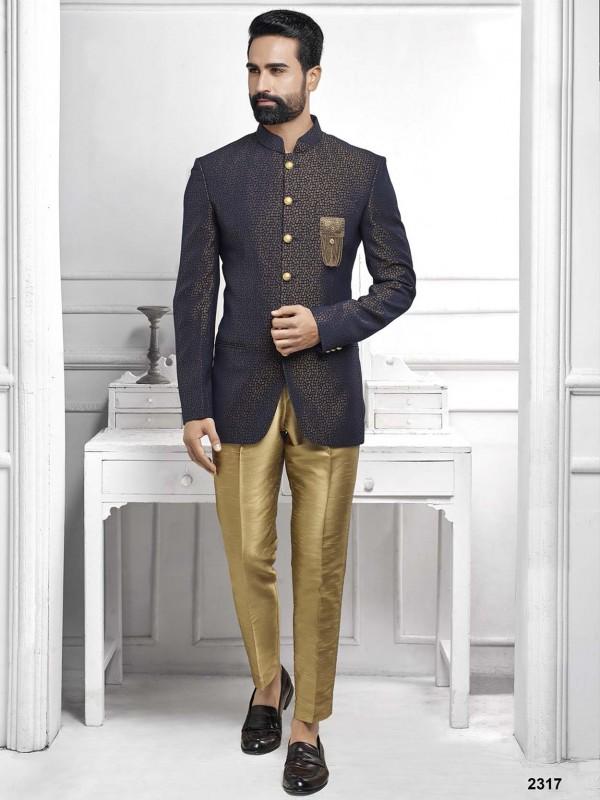 Blue Colour Printed Men's Jodhpuri Suit.
