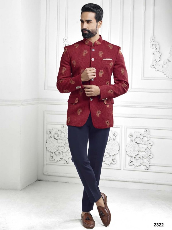 Fabulous Maroon Colour Embroidery Work Jodhpuri Suit.