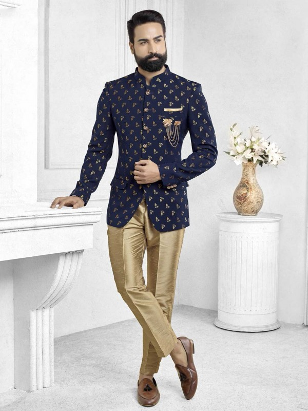 Blue Colour Designer Printed Jodhpuri Suit.