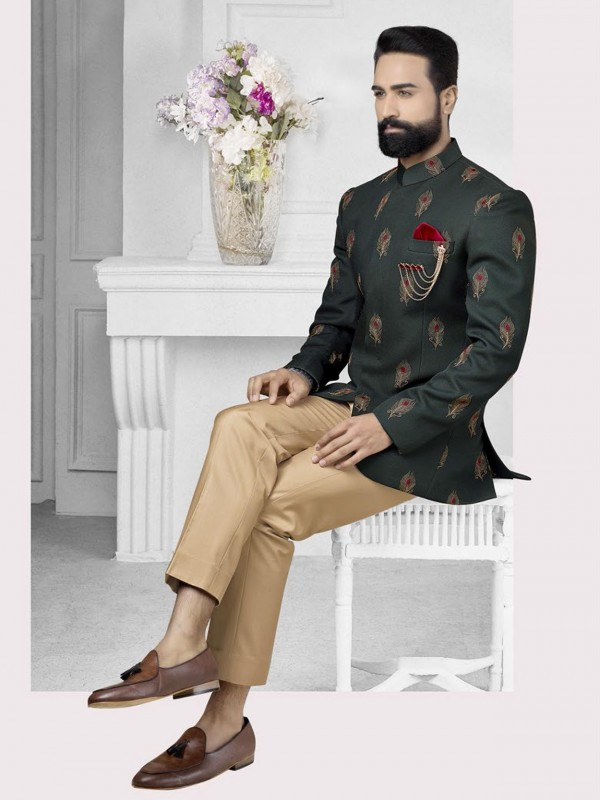 Green Colour Men's Jodhpuri Suit.