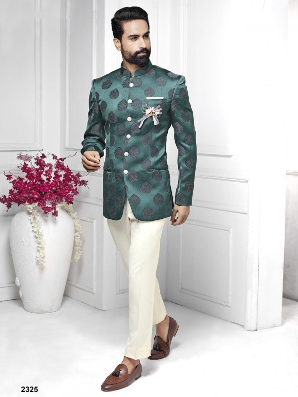 Green Colour Imported Fabric Men's Jodhpuri Suit.