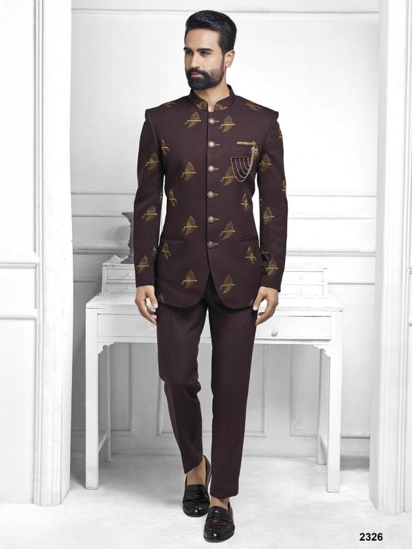 Wine Colour Men's Party Wear Jodhpuri Suit.