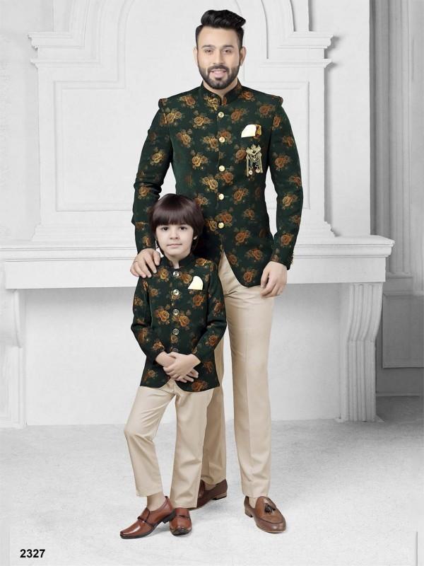 Designer Printed Jodhpuri Suit Green Colour.