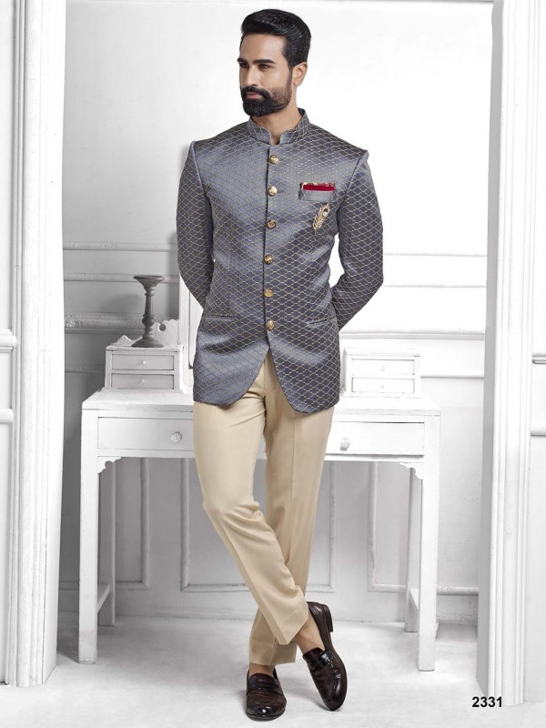 Grey Colour Imported Fabric Jodhpuri Suit.