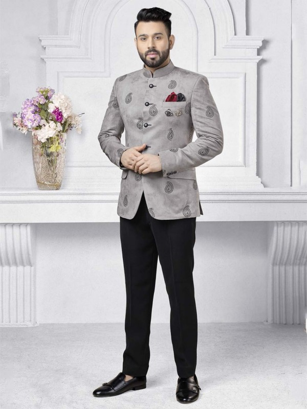 Imported Fabric Jodhpuri Suit With Embroidery Work.