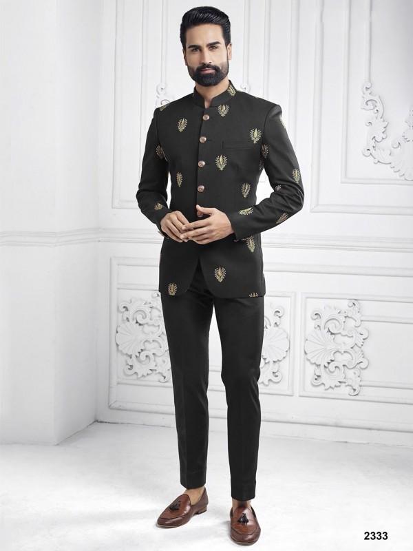 Black Colour Embroidery Work Mens Designer Jodhpuri Suit.