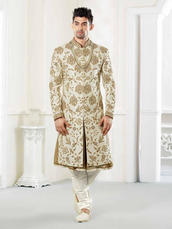 Attractive Cream Colour Sherwani For Wedding