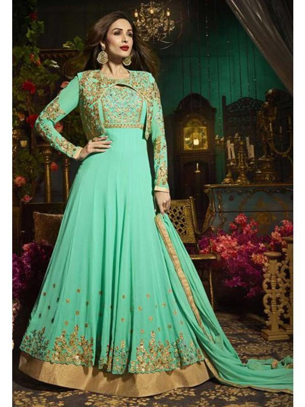 Green Color Georgette Salwar Kameez.