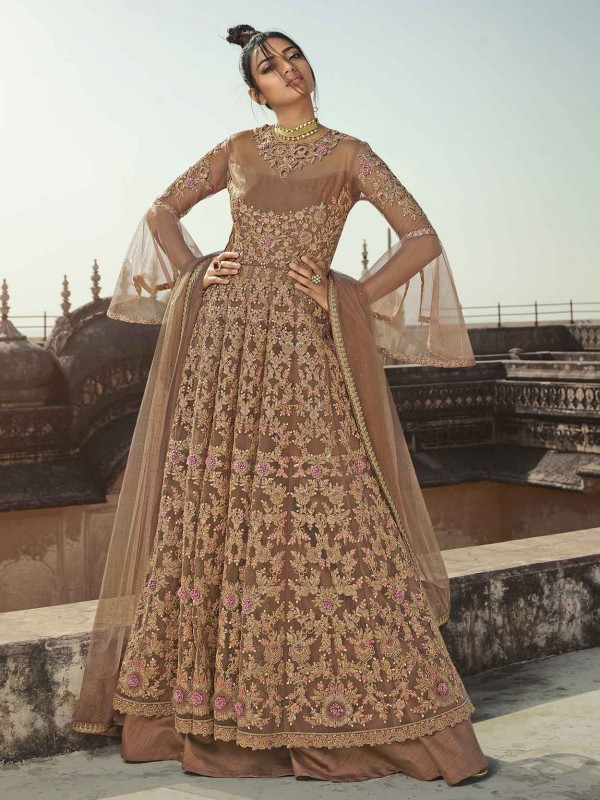 Beige in Net,Satin Designer Anarkali Salwar Suit.
