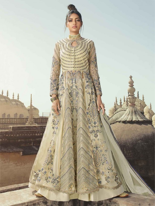 Cream,Light Grey Colour Anarkali Salwar Suit in Net,Satin Fabric.