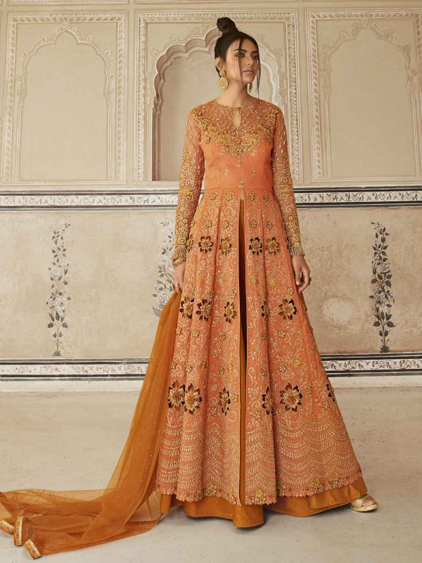 Peach,Orange Colour Designer Wedding Salwar Suit in Net,Satin Fabric.