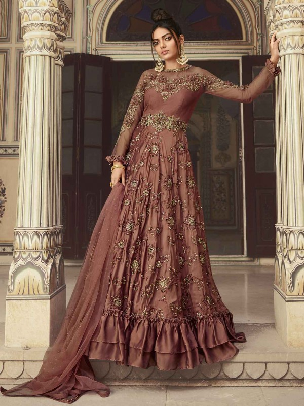 Rust Colour in Net,Satin Women Designer Salwar Suit.