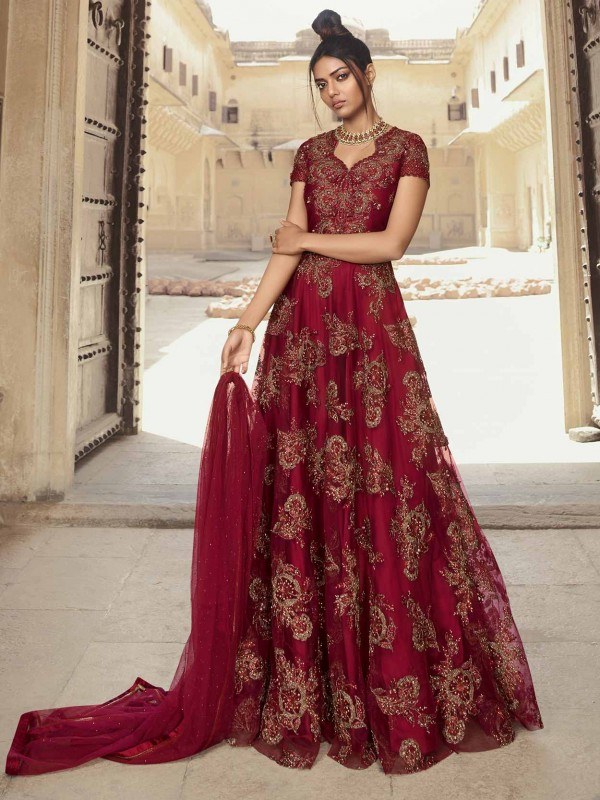 Maroon Designer Anarkali Salwar Suit in Net,Satin Fabric With Zari,Thread Work.