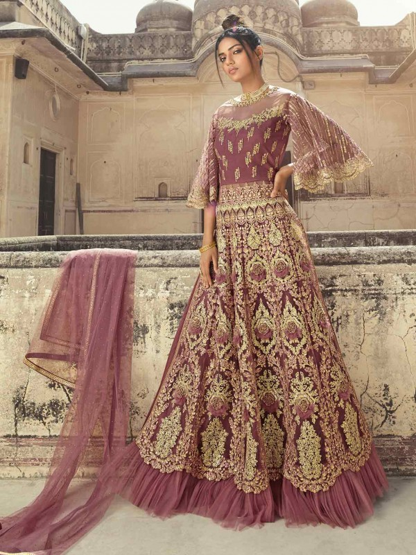Pink Colour Anarkali Salwar Kameez in Zari,Thread,Embroidered Work.