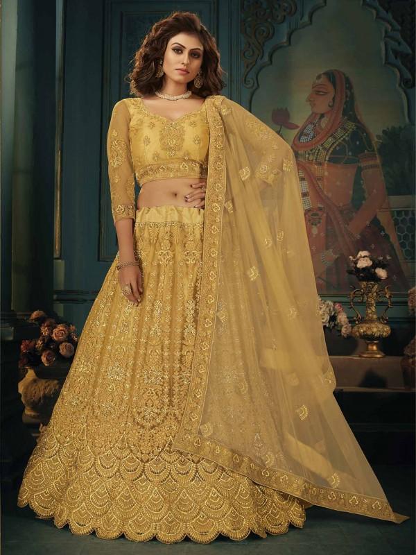Golden Colour in Net Fabric Indian Designer Lehenga Choli.