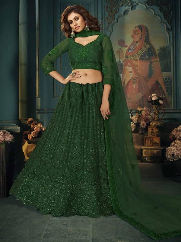 Net Designer Lehenga Choli in Green Colour.