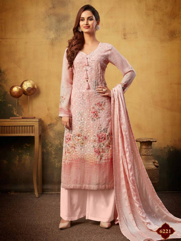 Pink Colour Palazzo Salwar Suit in Georgette Fabric.