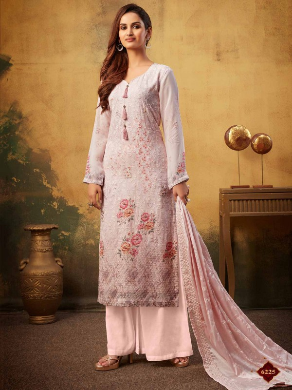 Baby Pink Colour Embroidery Palazzo Salwar Suit.