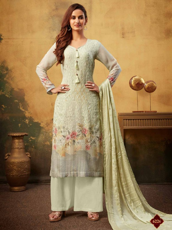 Green Colour Designer Women Palazzo Salwar Suit.