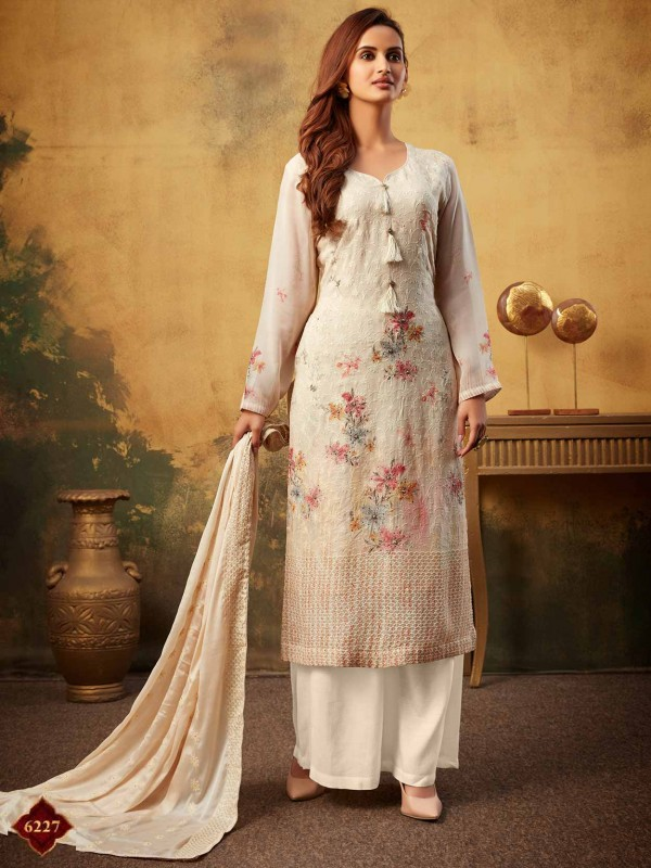 Georgette Palazzo Salwar Kameez in Cream Colour.