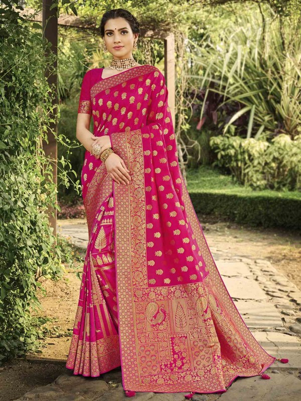 Pink Colour Silk Designer Saree.