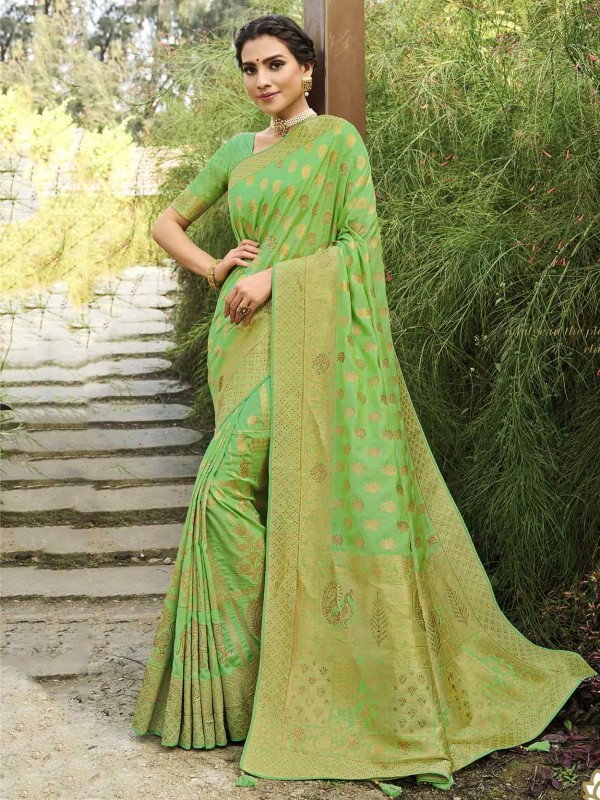 Silk Traditional Saree in Green Colour.