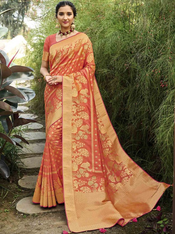 Peach Colour Silk Weaving Saree.