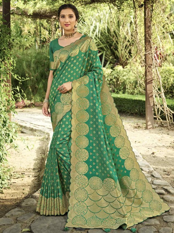 Green Colour Silk Saree With Weaving Work.