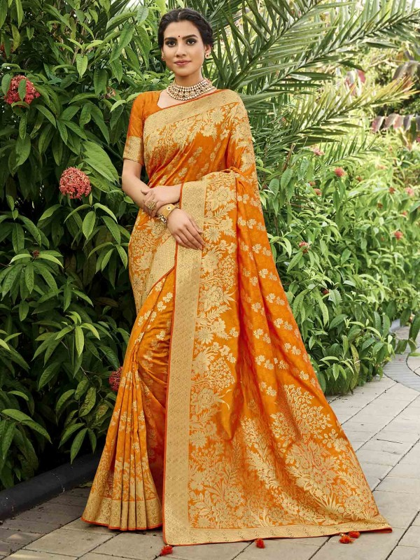 Golden,Orange Colour Silk Traditional Saree.