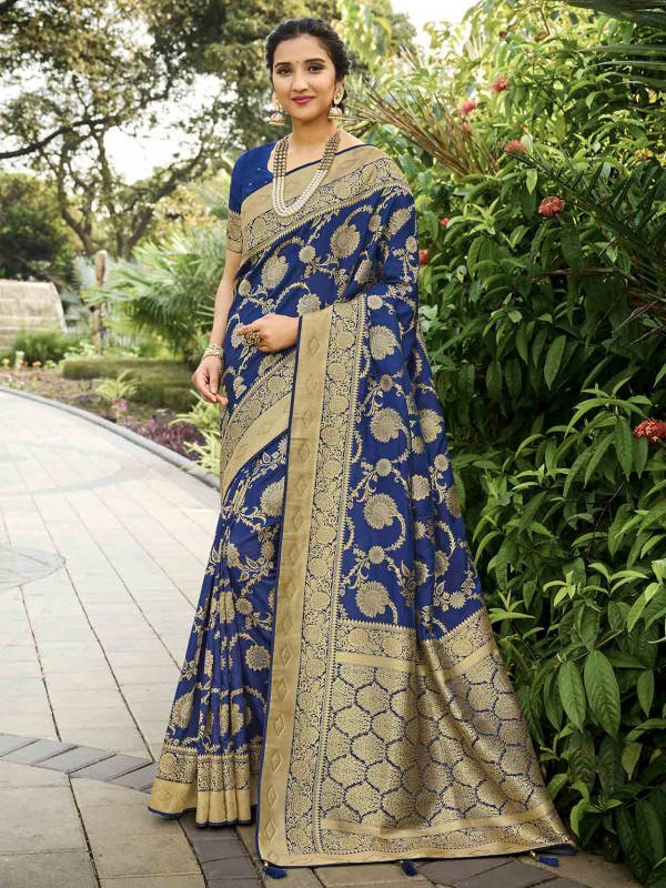 Blue Colour in Silk Party Wear Sari With Weaving Work.