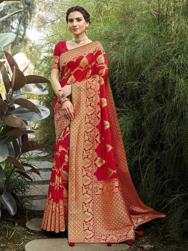 Silk Indian Designer Saree in Red Colour.