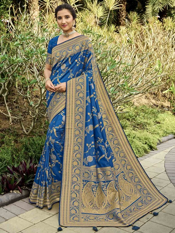 Blue Colour Silk Women Saree With Weaving Work.