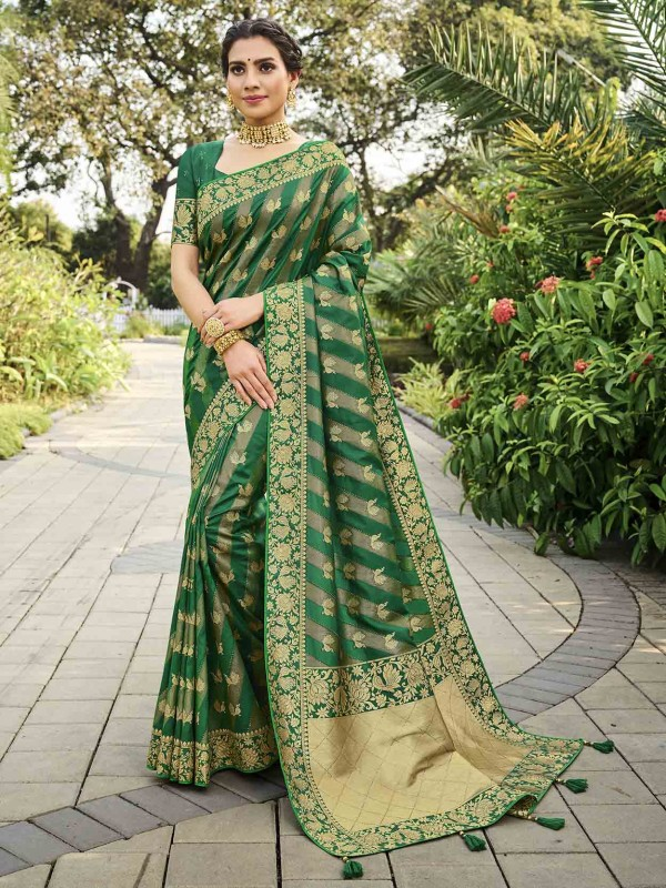 Green Colour Silk Designer Saree.