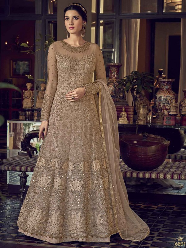 Rust,Brown Colour Net Anarkali Salwar Kameez.
