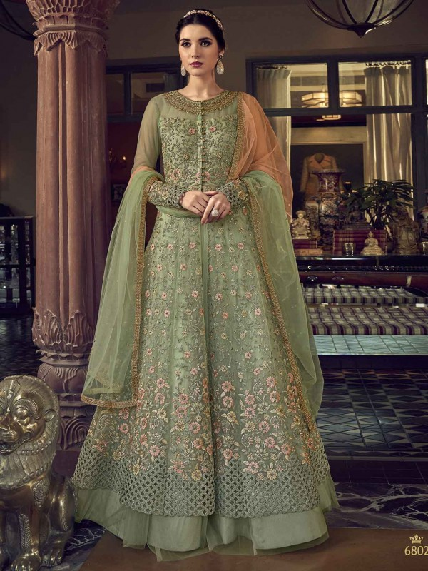 Net Designer Anarkali Salwar Kameez in Pista Green Colour.