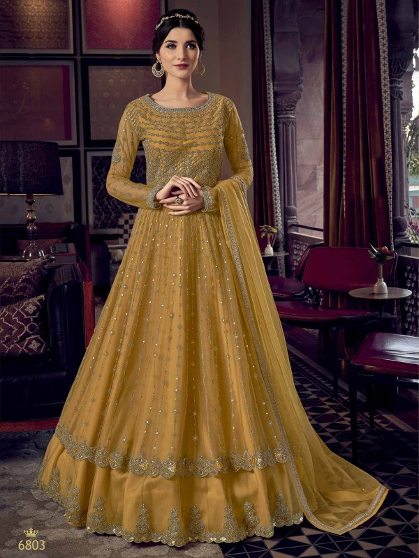 Mustard Yellow Colour Net Designer Salwar Kameez.