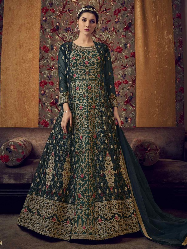 Dark Green Colour Net Party Wear Anarkali Salwar Suit.