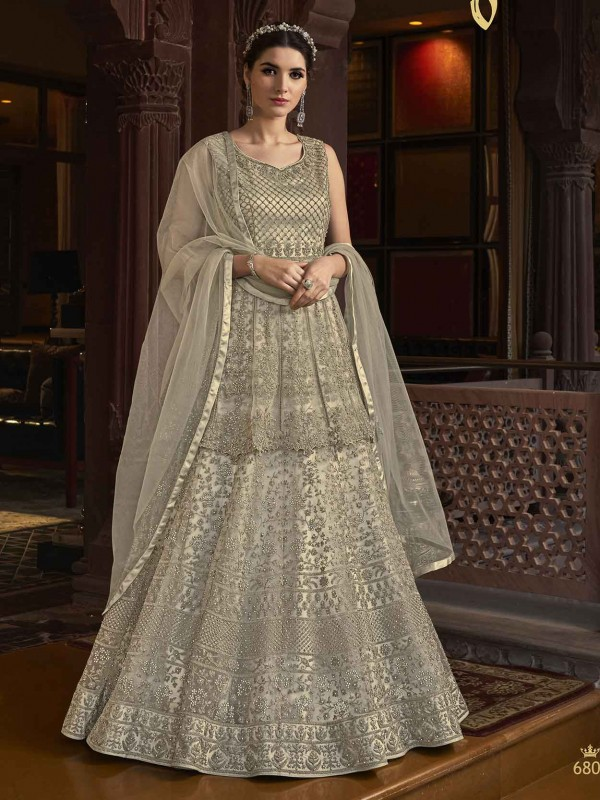 Silver Colour Women Anarkali Salwar Kameez in Net Fabric.