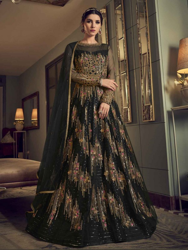Black Colour In Net Fabric Party Wear Salwar Suit.