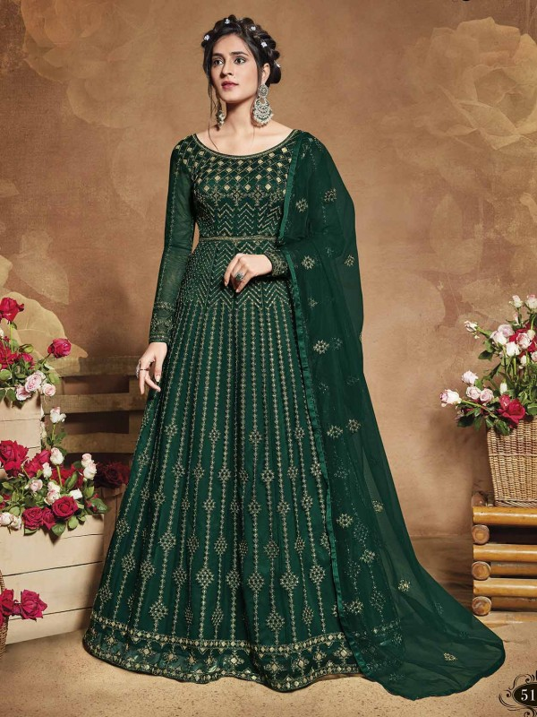 Net Fabric Anarkali Salwar Suit in Green Colour.