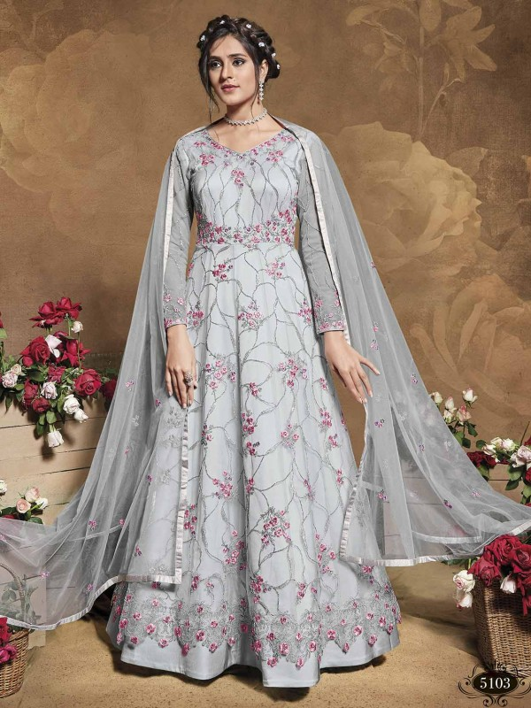 Grey Colour Net Fabric Women Anarkali Salwar Suit.