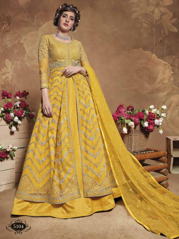 Net Fabric Designer Anarkali Salwar Suit in Yellow Colour.
