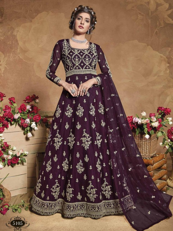 Purple Colour Net Designer Women Salwar Kameez.