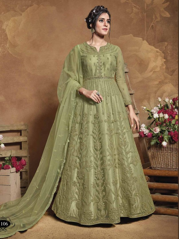Green Colour in Net Designer Salwar Kameez With Thread,Zari Work.