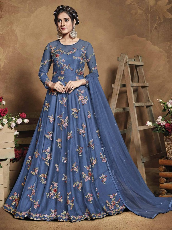 Blue Colour Net Party Wear Salwar Suit.