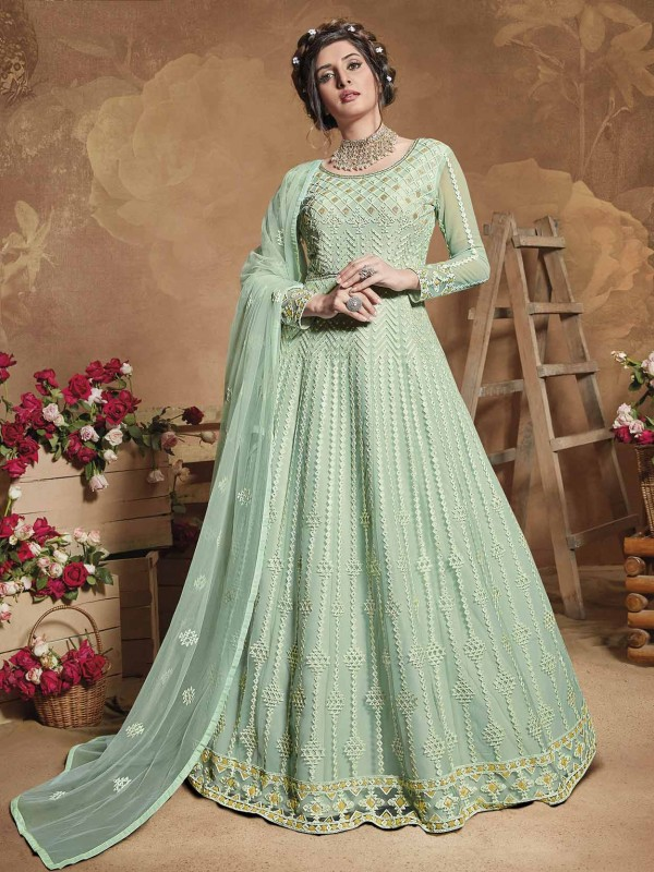 Turquoise Colour Net Women Salwar Kameez.