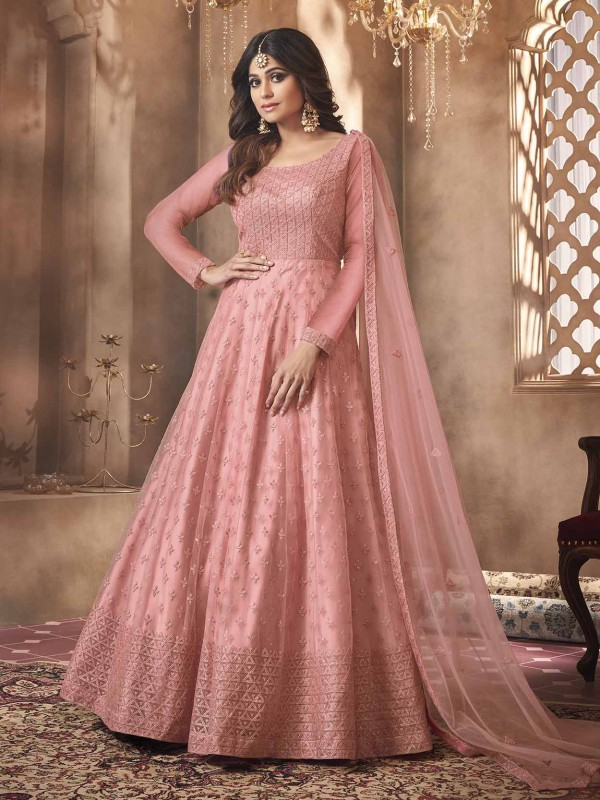 Pink Colour Net Designer Bollywood Salwar Kameez.